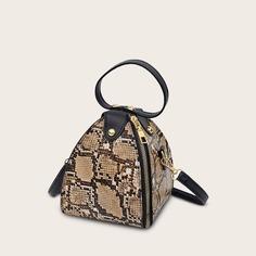 Сумка-портфель с змеиным принтом Shein