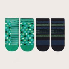 Мужские носки в горошек с полосатым узором 2 пары Shein