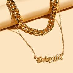 Цепное ожерелье с текстовым декором 2шт Shein