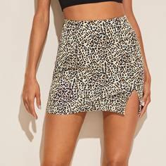 Леопардовая юбка с разрезом Shein