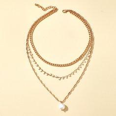 Многослойное ожерелье с искусственным жемчугом Shein