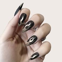 Накладные ногти с принтом пламени 24шт и двусторонняя лента 1шт Shein