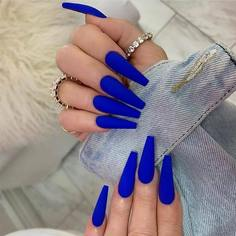 24шт Однотонные накладные ногти и 1шт пилка для ногтей и 1 лист ленты Shein