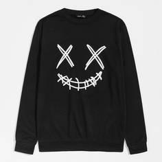 Мужской пуловер с мультипликационным принтом Shein