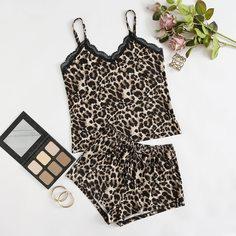 Пижама с кружевной отделкой и леопардовым принтом Shein