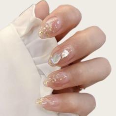 24шт накладные ногти с золотой фольгой и 1 лист лента Shein