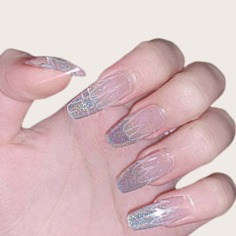 24шт блестящие накладные ногти и 1 лист лента Shein