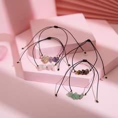 4шт веревочный браслет с декором камня Shein