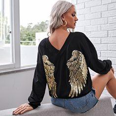 Пуловер с двойным v-образным воротником и блестками Shein