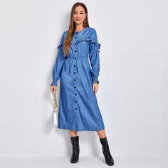 Джинсовое платье на пуговицах с оборкой Shein