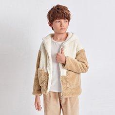 Двухцветное плюшевое пальто с капюшоном на молнии для мальчиков Shein
