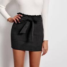 Замшевая юбка с поясом и присборенной талией Shein