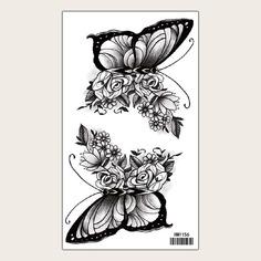 Стикер тату с узором цветка и бабочки Shein