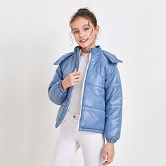 Стеганое пальто на молнии с капюшоном для девочек Shein