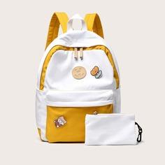 Контрастный рюкзак с мультипликационным принтом и пенал Shein