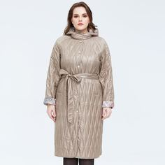 Astrid стеганое пальто размера плюс с капюшоном и карманом Shein