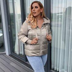 Astrid Стеганое пальто на молнии с капюшоном размера плюс Shein
