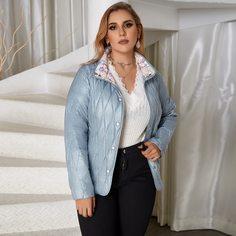 Astrid Стеганое пальто на пуговицах с воротником-стойкой размера плюс Shein