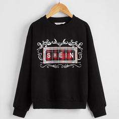 Пуловер в клетку с текстовым принтом для мальчиков Shein