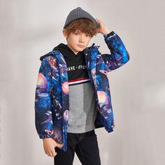 Ватное пальто на молнии с графическим принтом для мальчиков Shein