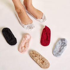 Невидимые носки с кружевной отделкой 6 пар Shein