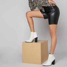 Остроконечные ботинки на каблуке из искусственной кожи Shein
