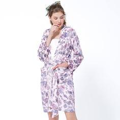 с поясом Со цветочками милый Ночной халат Shein