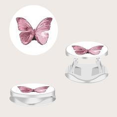 Круглая подставка для телефона с принтом бабочки 1шт Shein