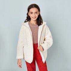 Плюшевое пальто с капюшоном и молнией для девочек Shein