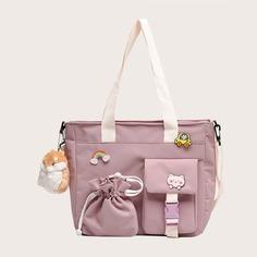 двойная ручка на кулиске Мультяшный принт Детские сумки на плечо и сумки-тоут Shein