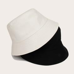 2шт Мужчины Простая шляпа с ведром Shein