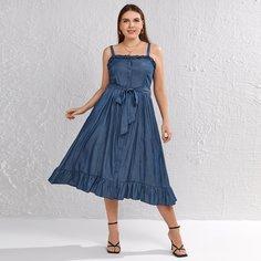 с поясом Одноцветный Повседневный Джинсовые платья размер плюс Shein