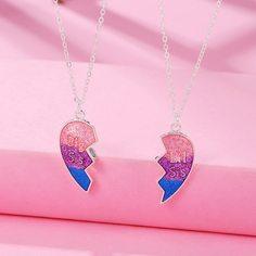 2шт ожерелье с сердечком для девочек Shein