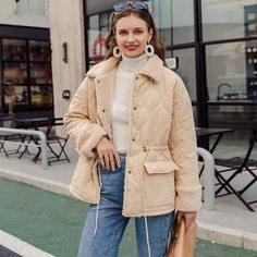 Пальто на кулиске с пуговицами и плюшевой подкладкой Shein