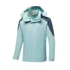 Мужская 3 в 1 водонепроницаемая куртка с капюшоном и съемной флисовой подкладкой Shein