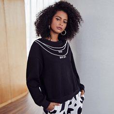 Пуловер с принтом цепи Shein