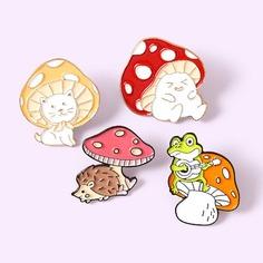 4шт детская брошь с грибами Shein