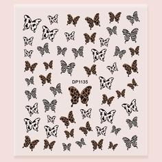 1 лист Наклейка для ногтей с рисунком бабочки Shein