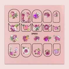 Наклейка для ногтей с цветочным рисунком 1 лист Shein