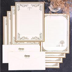 Конверты и писчая бумага горячего тиснения 10шт Shein