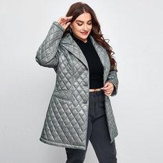 с карманами Одноцветный Повседневный Плюс размеры пальто Shein
