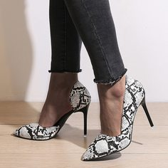 Туфли на каблуках со змеиным принтом Shein