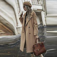 Двойная пуговица Одноцветный Повседневный Пальто Shein