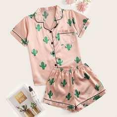 Пижама С Шортами С Растительным Принтом Shein