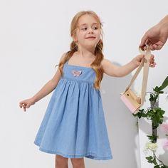 с аппликацией Животный милый Джинсовые платья для девочек Shein