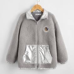 на молнии Контрастный цвет Повседневный Пальто для мальчиков Shein