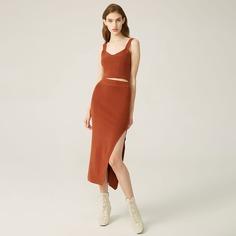 Трикотажный жилет и юбка с разрезом Shein