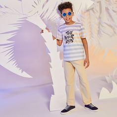 Брюки и футболка в полоску с текстовым принтом для мальчиков Shein