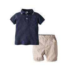 Рубашка-поло с контрастной отделкой и шорты для маленьких мальчиков Shein