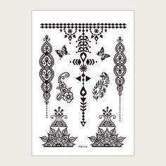 1 лист тату-наклейка с узором цветка и бабочки Shein